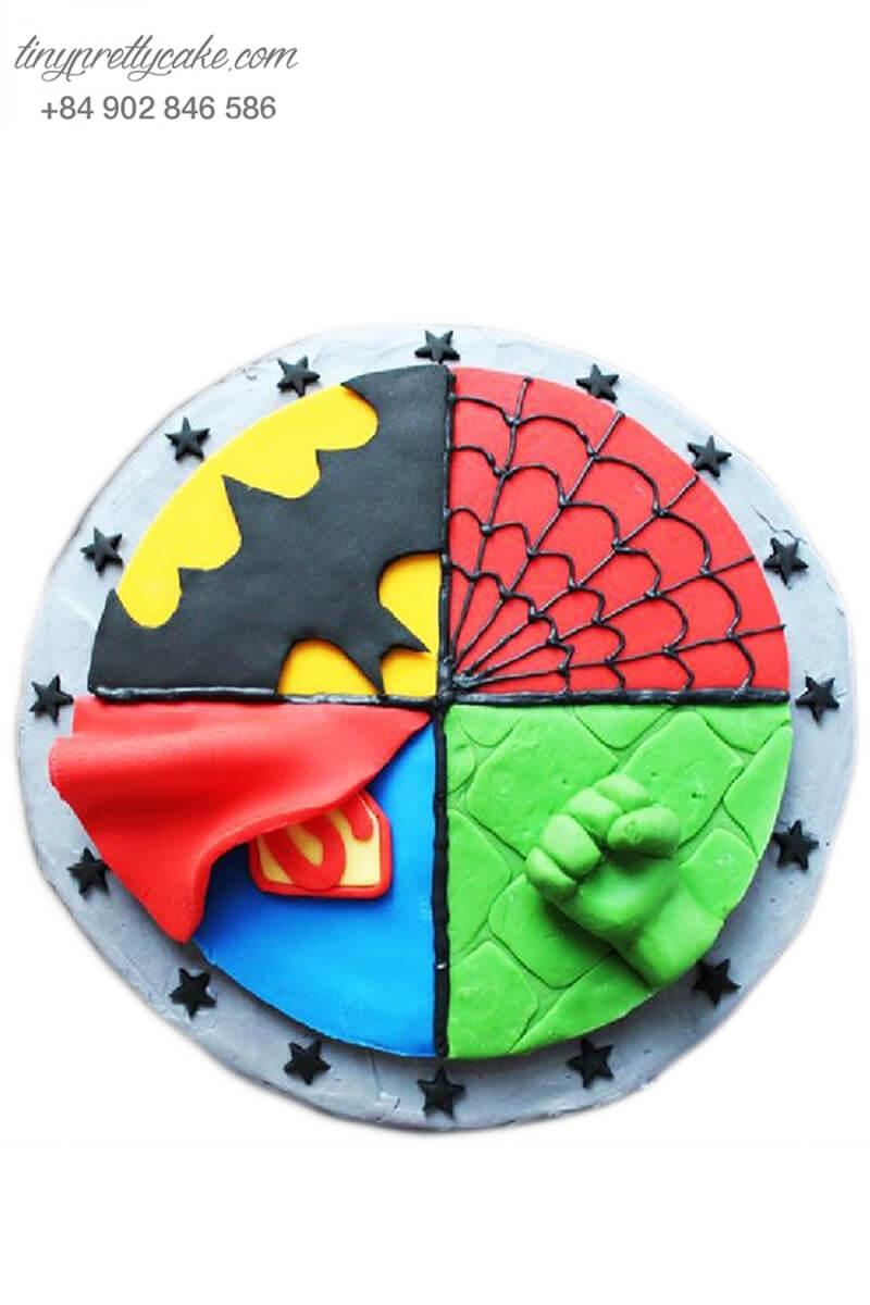 Bánh sinh nhật tạo hình bộ tứ siêu anh hùng cực dễ thương cho bé trai (BF1199)
