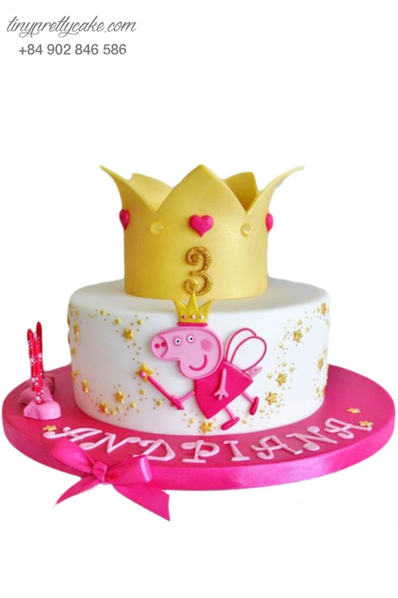Bánh gato tạo hình vương miện cô tiên Peppa - mừng sinh nhật, đầy tháng cho bé gái