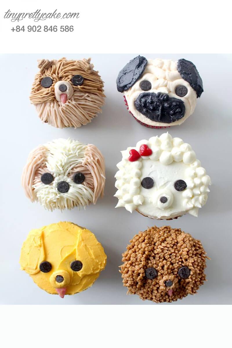 Set 6 Cupcake những chú chó đáng yêu mừng sinh nhật, thôi nôi các bé