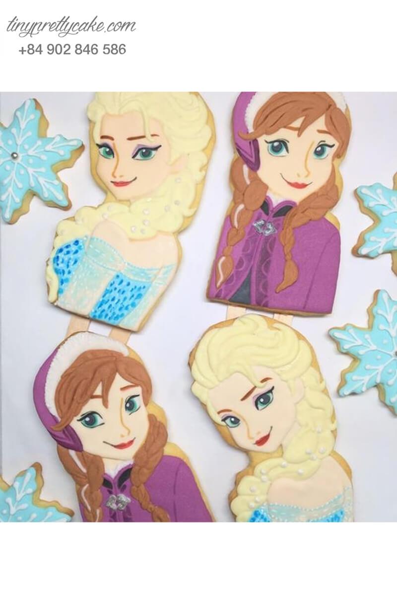 Set 4 Cookie công chúa Elsa & Anna - mừng sinh nhật bé gái