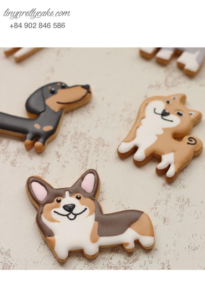 Set 5 cookie những chú chó đáng yêu - mừng sinh nhật, thôi nôi các bé
