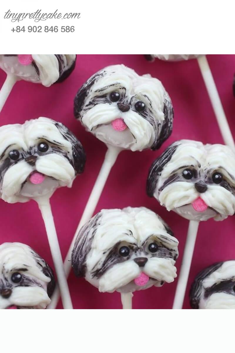 Bánh cakepop tạo hình chú chó Poppy Love để trang trí tiệc sinh nhật, thôi nôi cho các bé