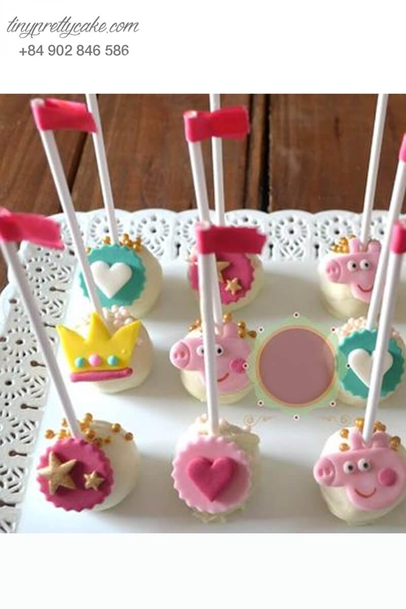 Set 12 bánh cakepop tạo hình chú heo Peppa dễ thương để trang trí tiệc sinh nhật, đầy tháng cho các bé