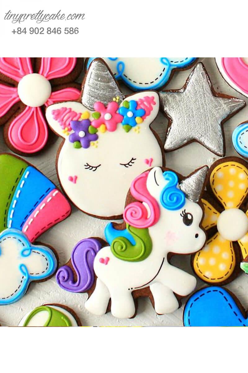 Set 7 Cookie hình Unicorn cực đáng yêu mừng sinh nhật cho bé gái.
