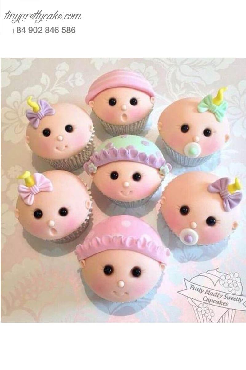 """Bánh 7 cupcake em bé """"cưng muốn xỉu"""" mừng sinh nhật các bé"""