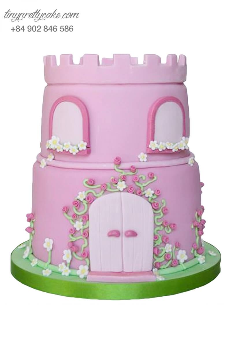 Bánh sinh nhật hai tầng tạo hình lâu đài công chúa mơ mộng cho bé gái (BF1171)