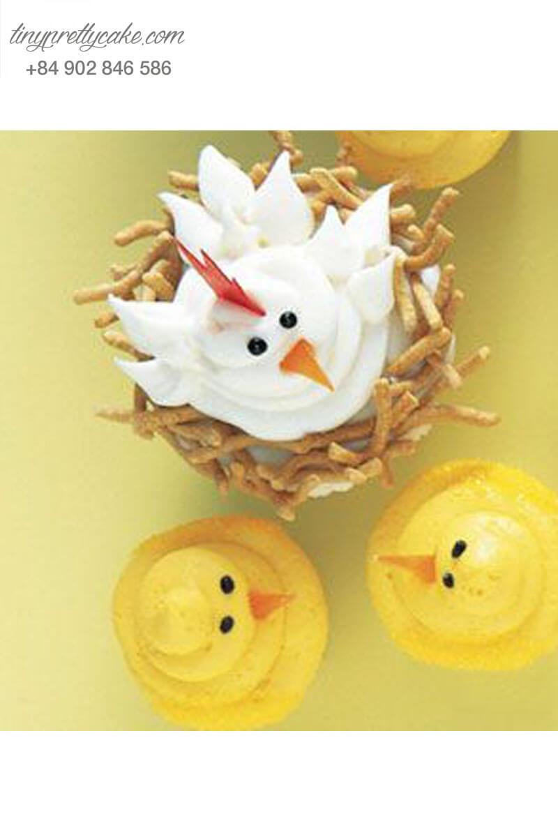 Set 4 Cupcake gia đình gà con hạnh phúc mừng sinh nhật các bé