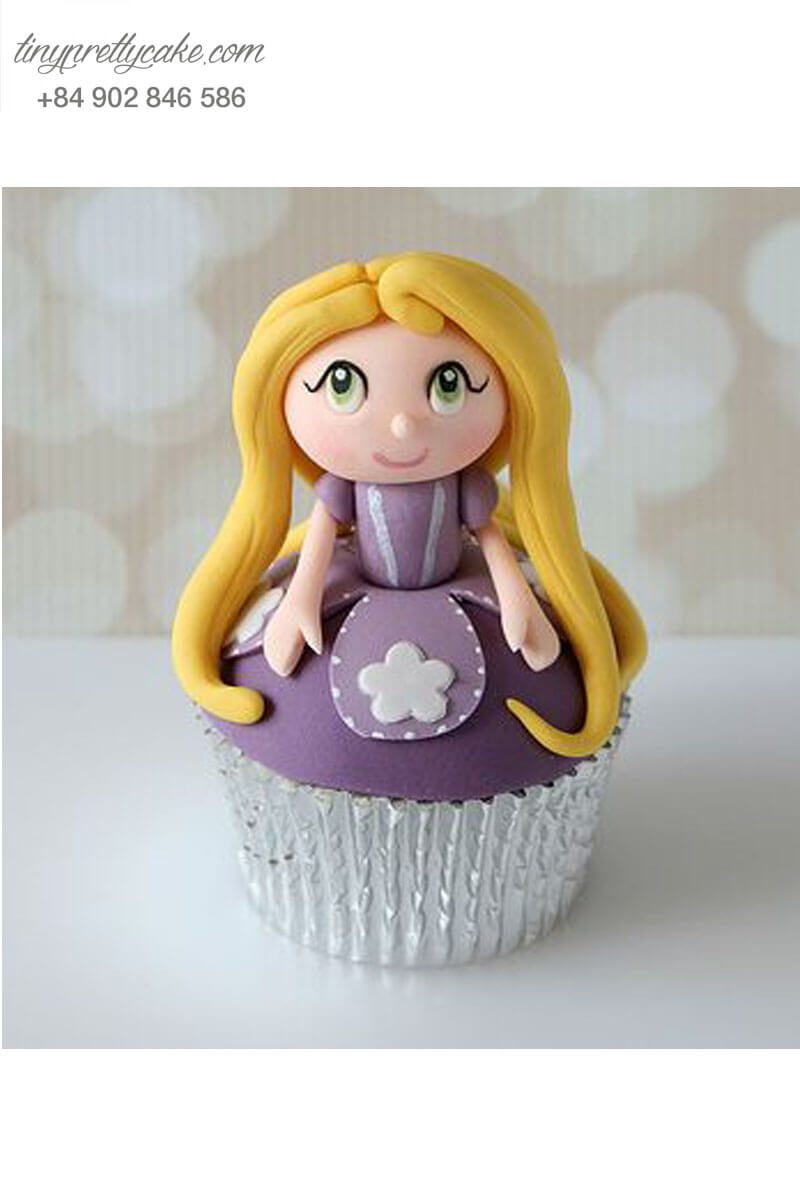 Bánh Cupcake công chúa Rapunzel tóc vàng dành tặng sinh nhật các bé
