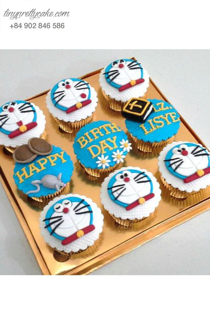 Set 9 Cupcake Doraemon mừng sinh nhật các bé