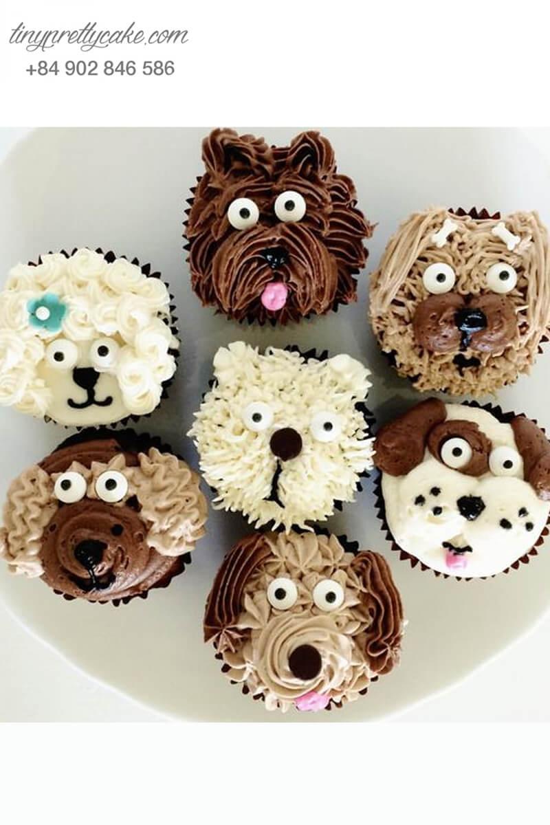 Set 7bánh cupcake chú chó tóc xoăn mừng sinh nhật, thôi nôi các bé