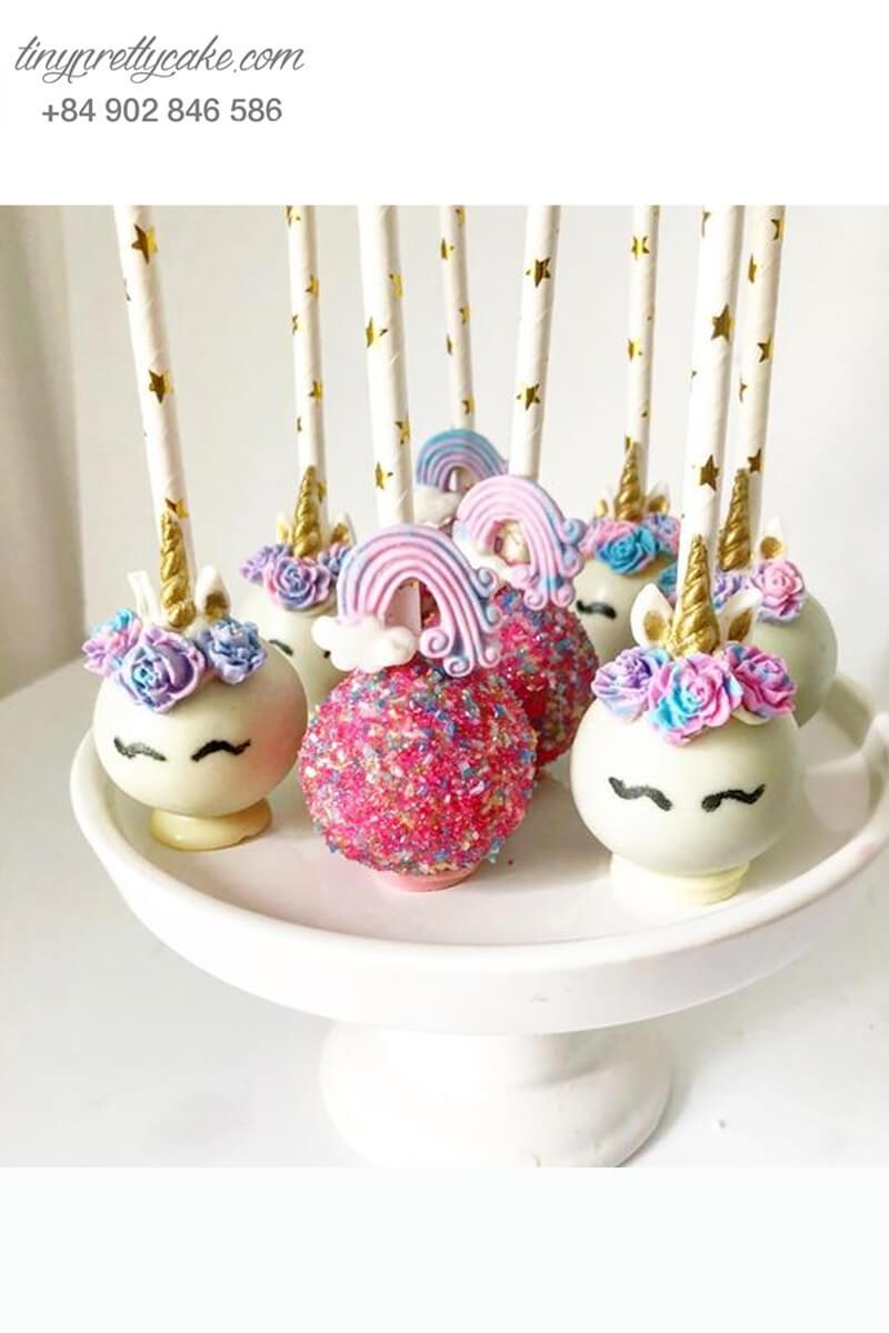 Set 8 bánh cakepop hình ngựa Pony Unicorn sắc màu dễ thương dành tặng bé gái