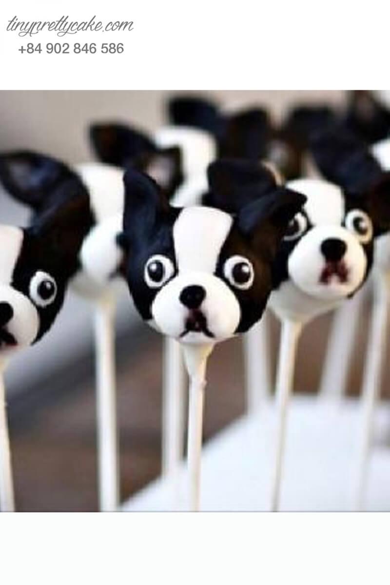 Bánh cakepop tạo hình chú chó ngây ngô để trang trí tiệc sinh nhật, thôi nôi cho các bé