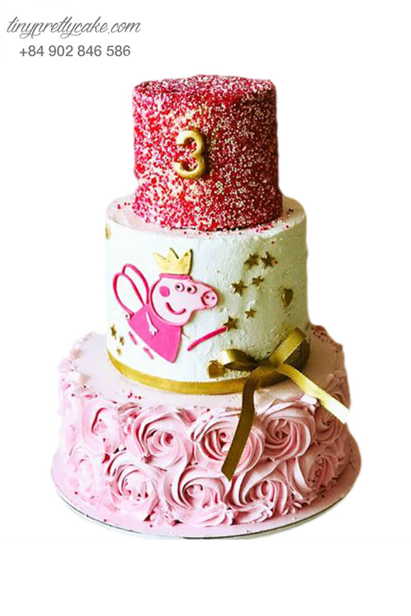 Bánh gato 3 tầng sang chảnh, mừng sinh nhật, đầy tháng cho bé gái