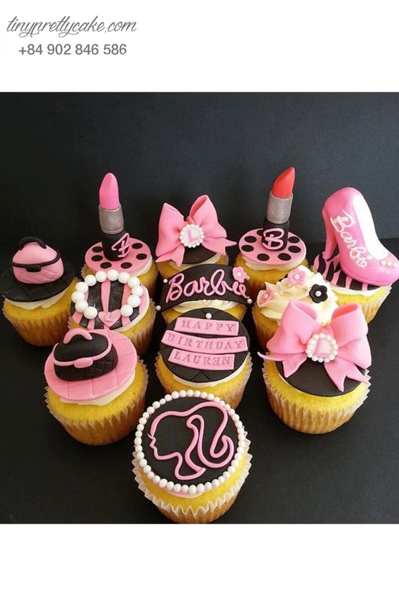 Set 10 cupcake Barbies màu hồng điệu mừng sinh nhật các bé gái
