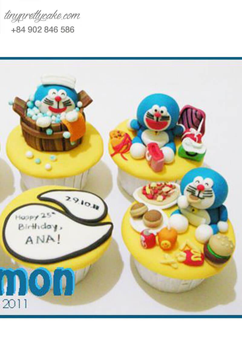 Set 6 Cupcake thế giới Doraemon mừng sinh nhật các bé