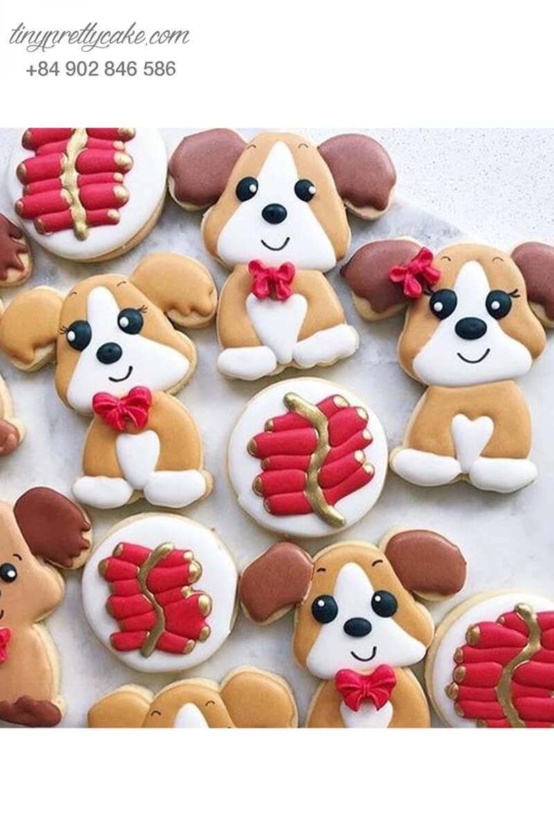 Set 8 Cookie chó Beagle nơ đỏ siêu yêu - mừng sinh nhật, thôi nôi các bé