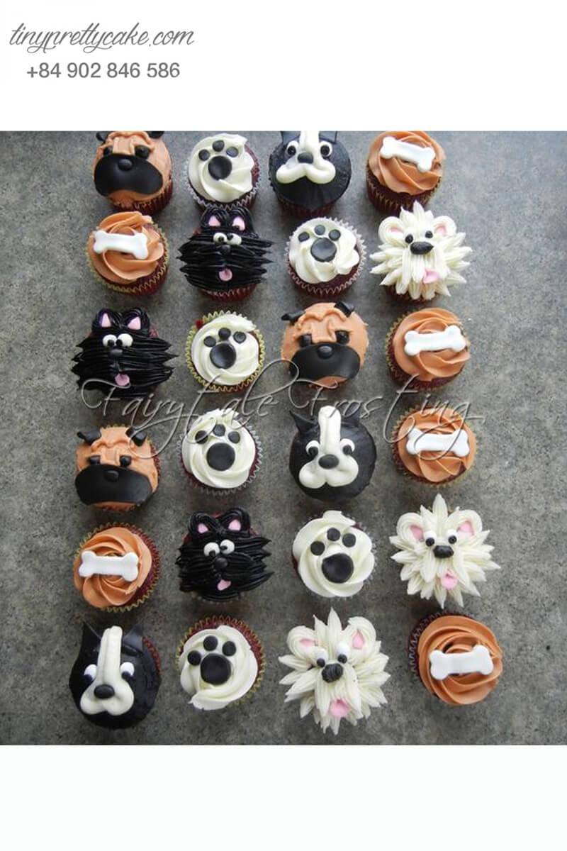 Set 24 cupcake những chú chó hạnh phúc mừng sinh nhật, thôi nôi các bé