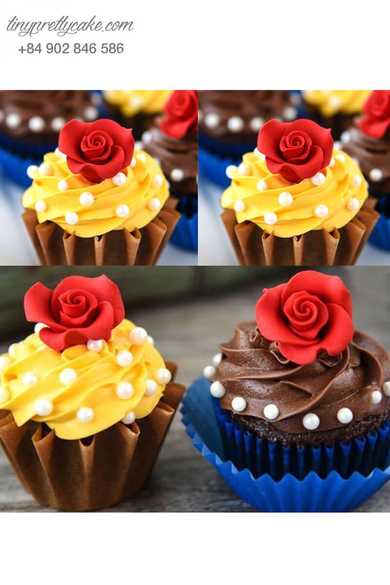 Set 2 cupcake Người đẹp và Quái vật mừng sinh nhật bé gái