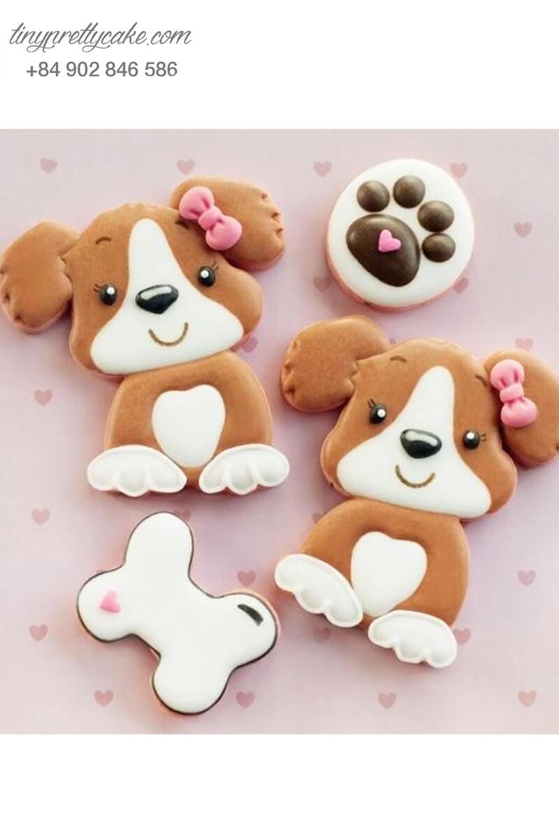 Set 4 Cookie quý cô Beagle nơ hồng và cục xương - mừng sinh nhật, thôi nôi cho bé gái