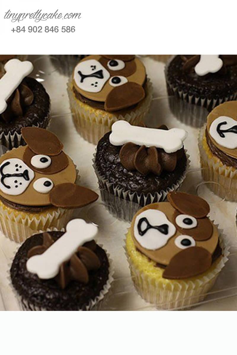 Set 6 cupcake chú chó và chiếc xương mừng sinh nhật, thôi nôi các bé
