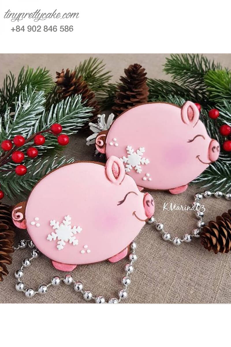 Cookie quý cô heo hồng tuyết mũm mĩm - mừng sinh nhật đầy tháng cho các bé