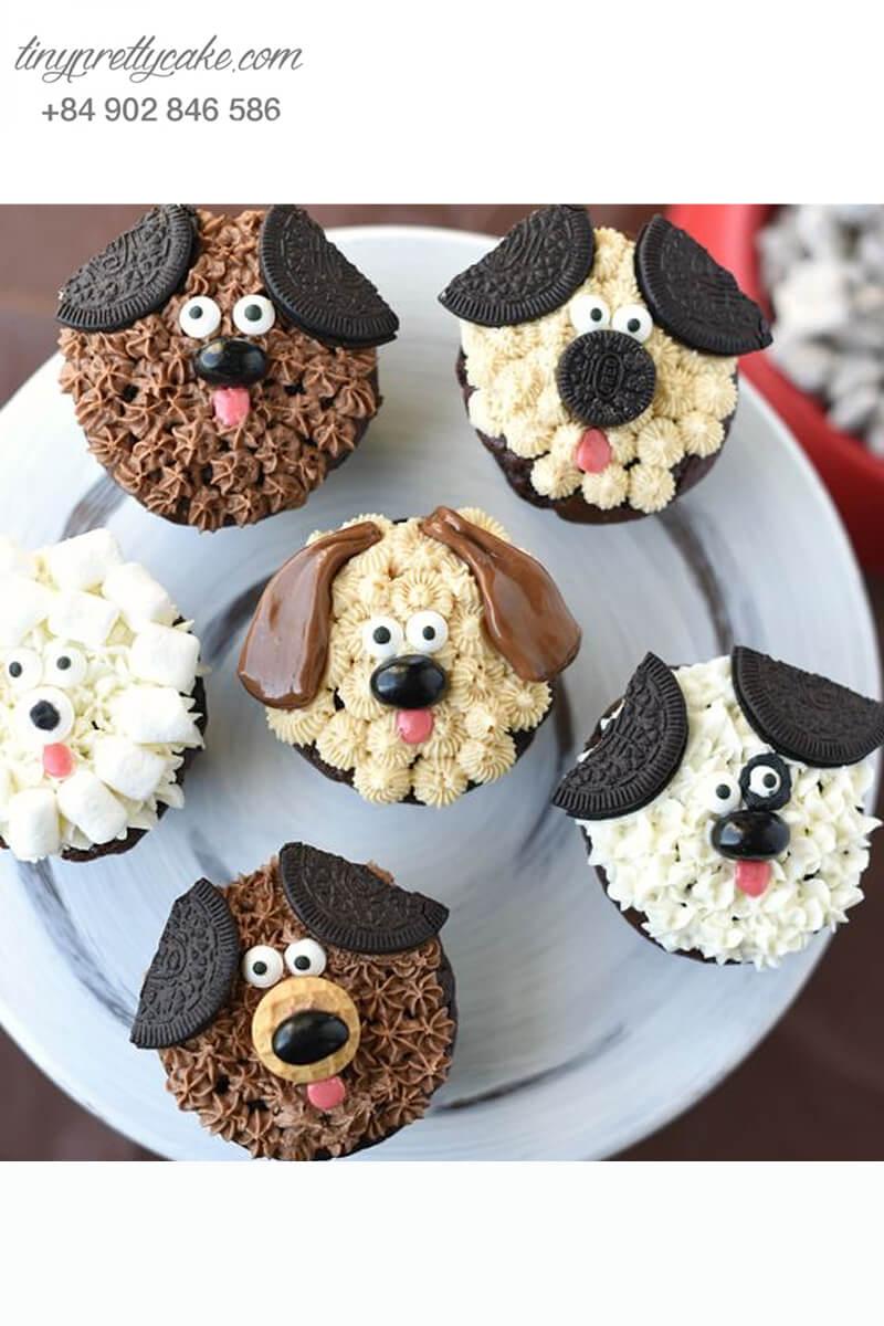 Set 6 cupcake những chú chó mừng sinh nhật, thôi nôi các bé