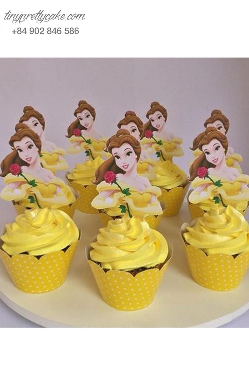 Bánh cupcake hình công chúa Belle lộng lẫy mừng sinh nhật các bé gái
