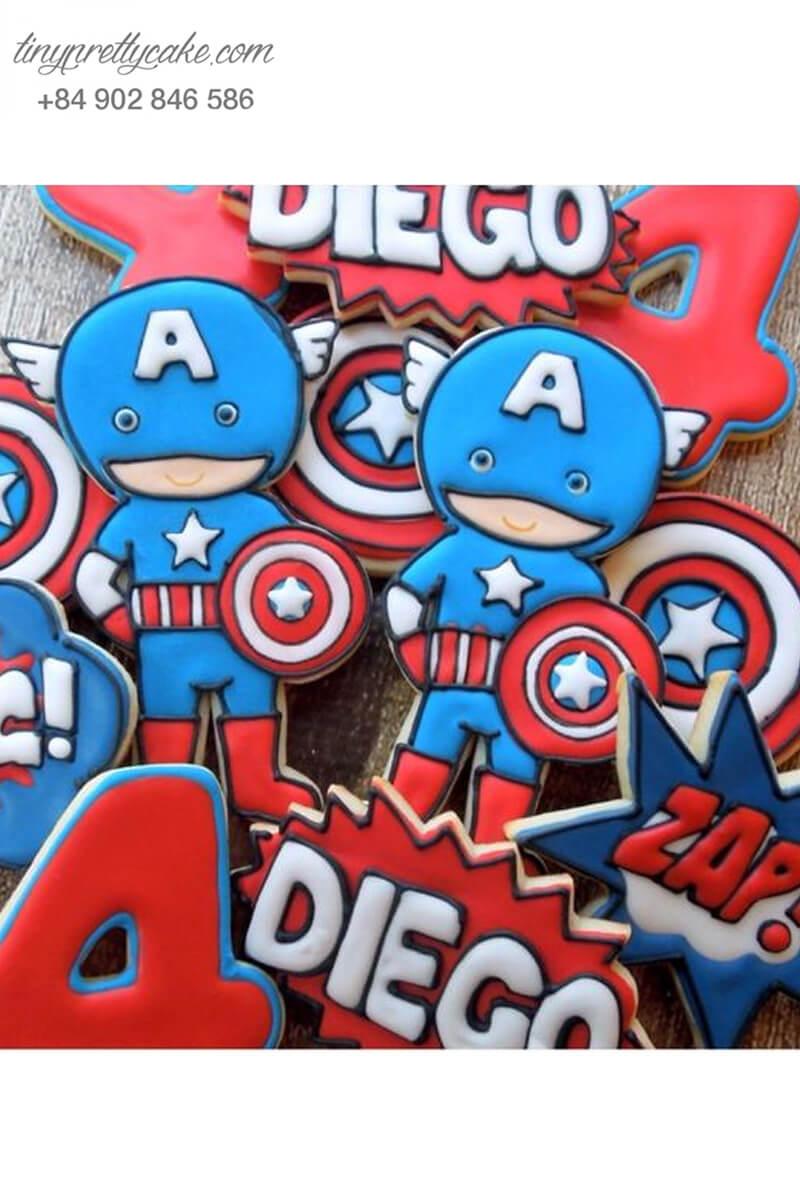 Set 10 Cookie Captain America chibi siêu đáng yêu - mừng sinh nhật bé trai