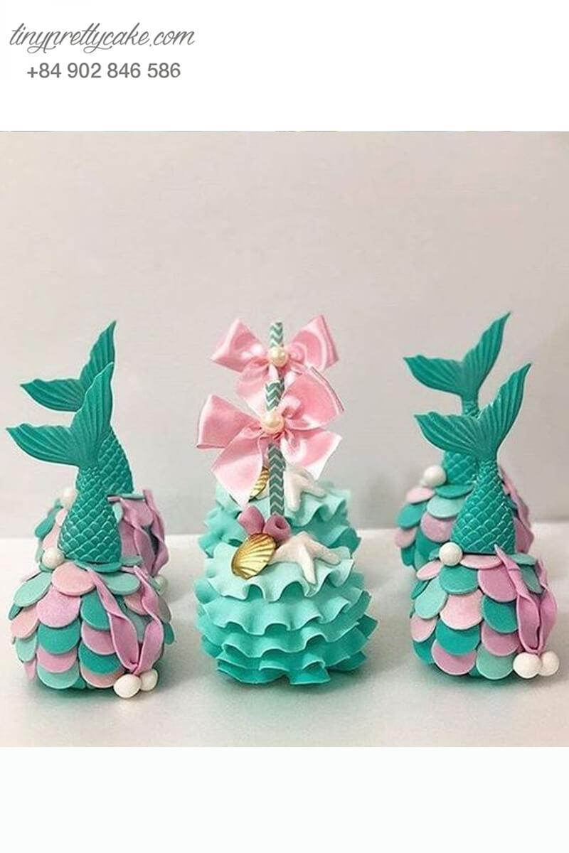 Set 6 bánh cakepop tạo hình đuôi nàng tiên cá tỉ mỉ dành tặng bé gái dịp sinh nhật
