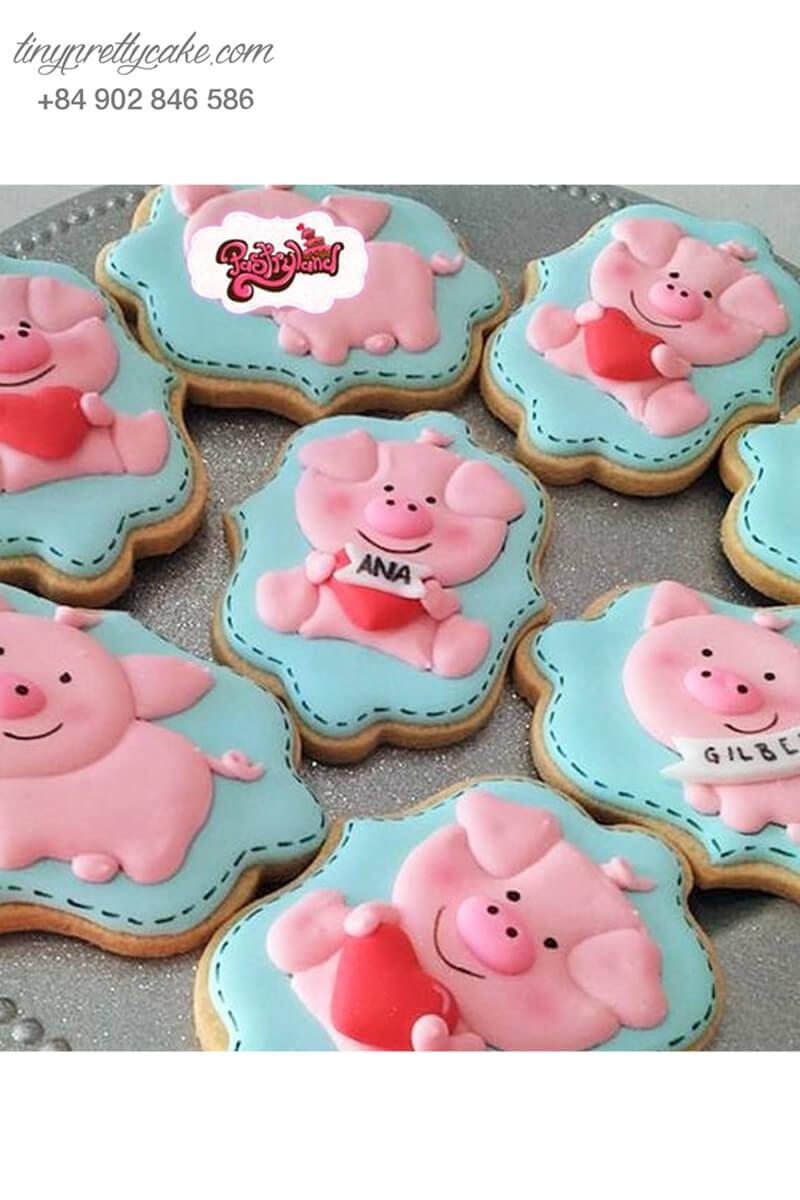 Set 7 Cookie heo Piglet nền xanh trái tim đáng yêu - mừng sinh nhật, đầy tháng các bé
