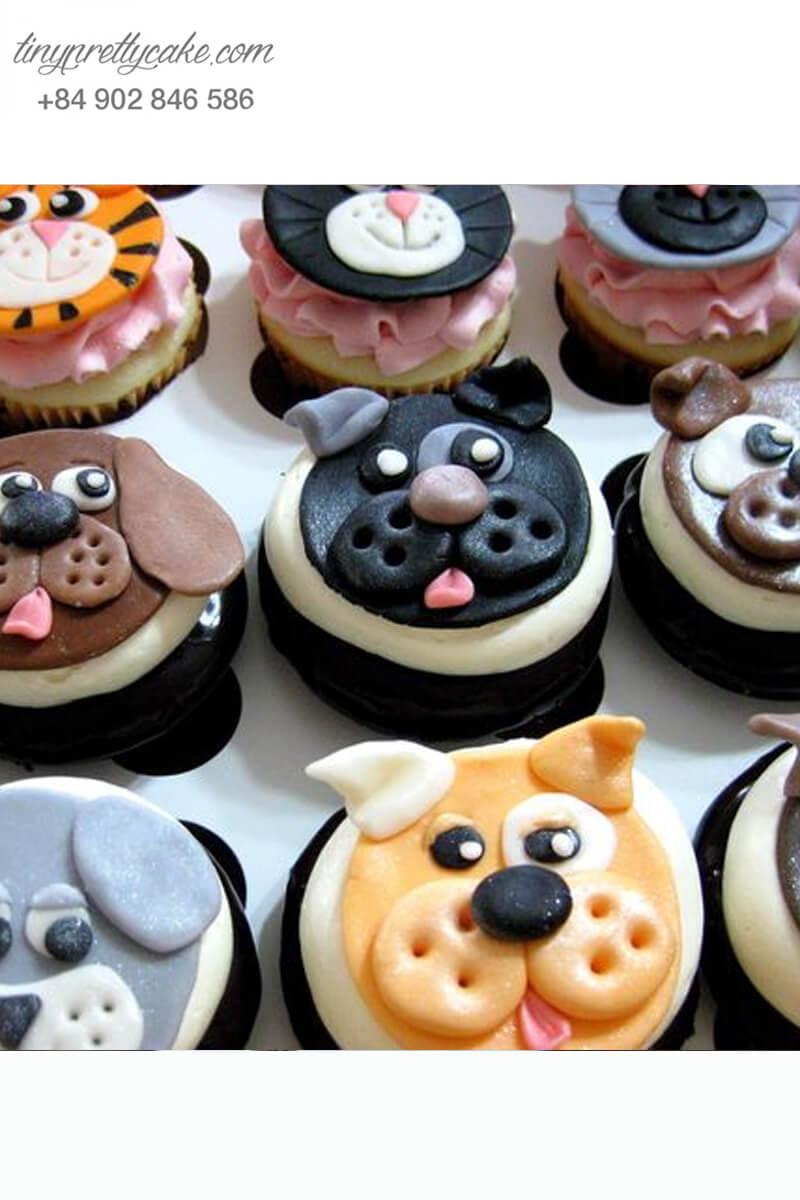 Set 9 cupcake chú chó lém lĩnh mừng sinh nhật, thôi nôi các bé
