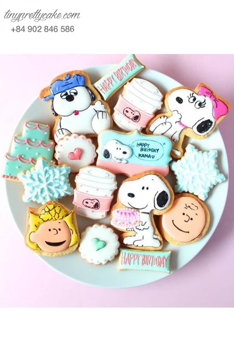 Set 14 Cookie chó Snoopy với bông tuyết - mừng sinh nhật, thôi nôi các bé