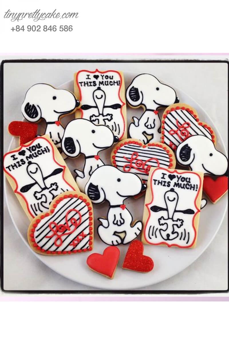 """Set 11 Cookie combo Snoopy """"I love you"""" cực chất - mừng sinh nhật, thôi nôi các bé"""