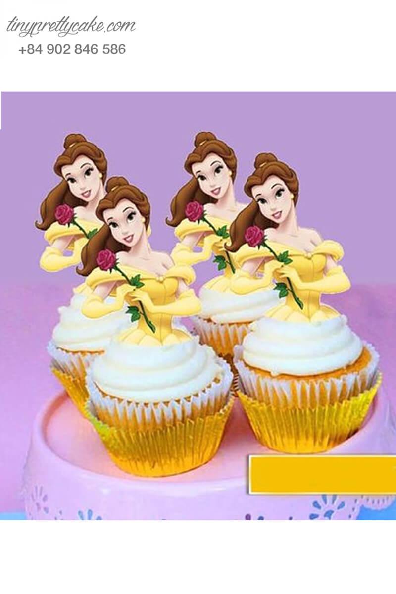 Bánh cupcake hình công chúa Belle ngọt ngào mừng sinh nhật các bé gái