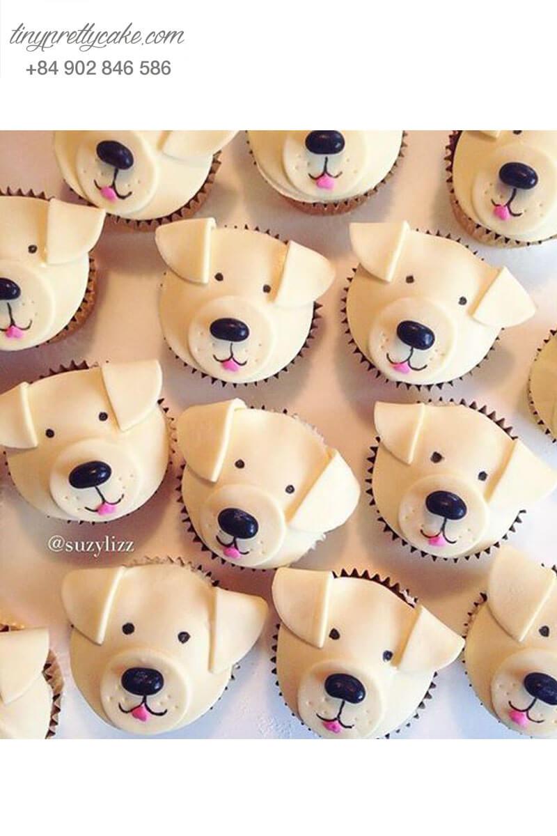 Bánh Cupcake chú chó ngộ nghĩnh dành tặng sinh nhật, thôi nôi các bé