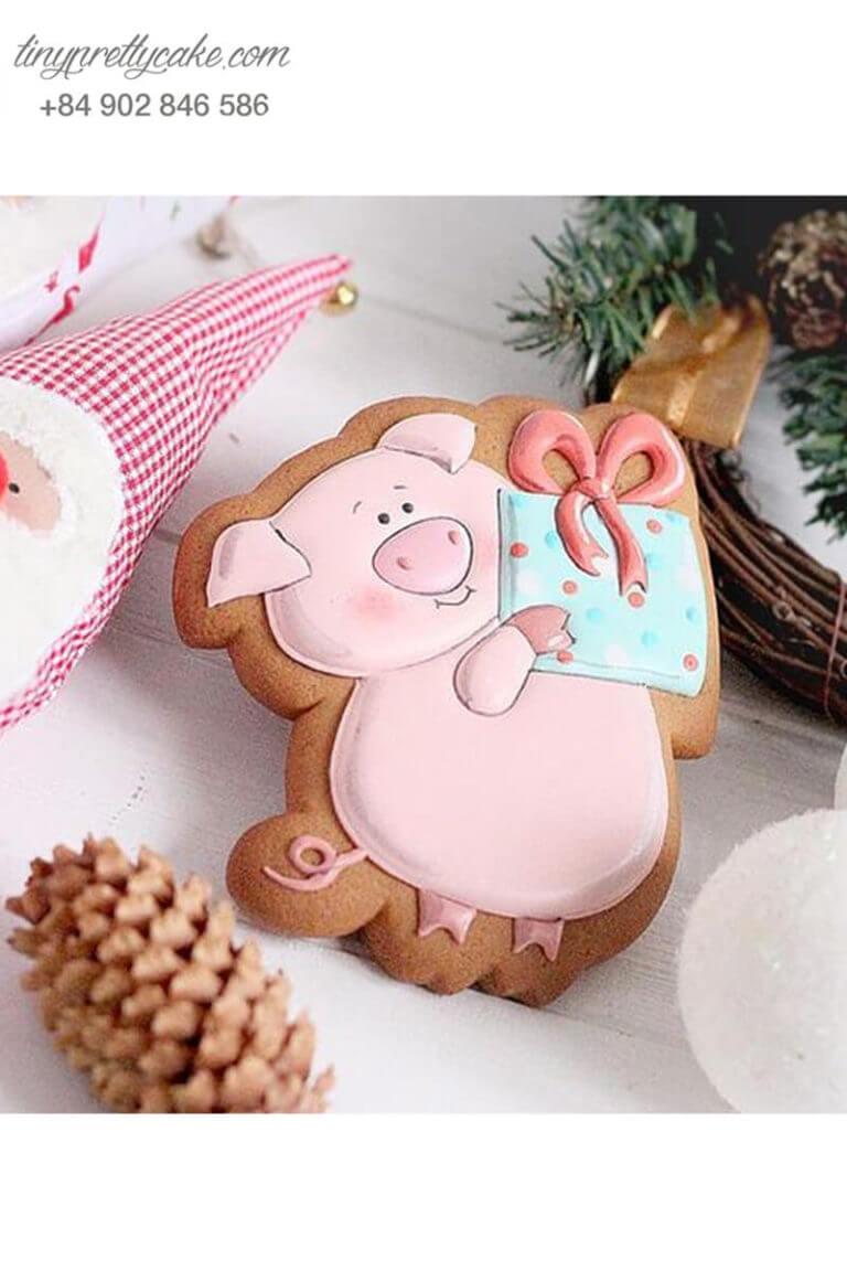 bánh cookie sinh nhật hình chú heo