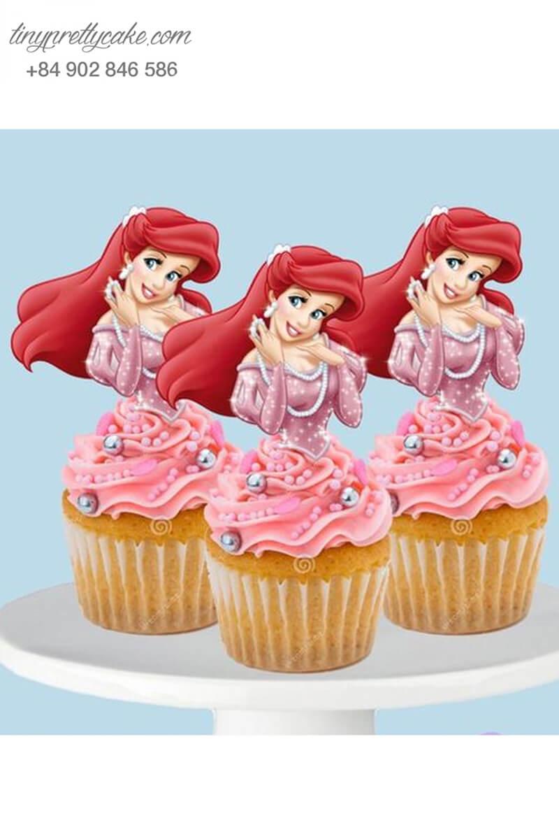 Bánh cupcake hình nàng tiên cá Ariel dịu dàng mừng sinh nhật cho bé gái