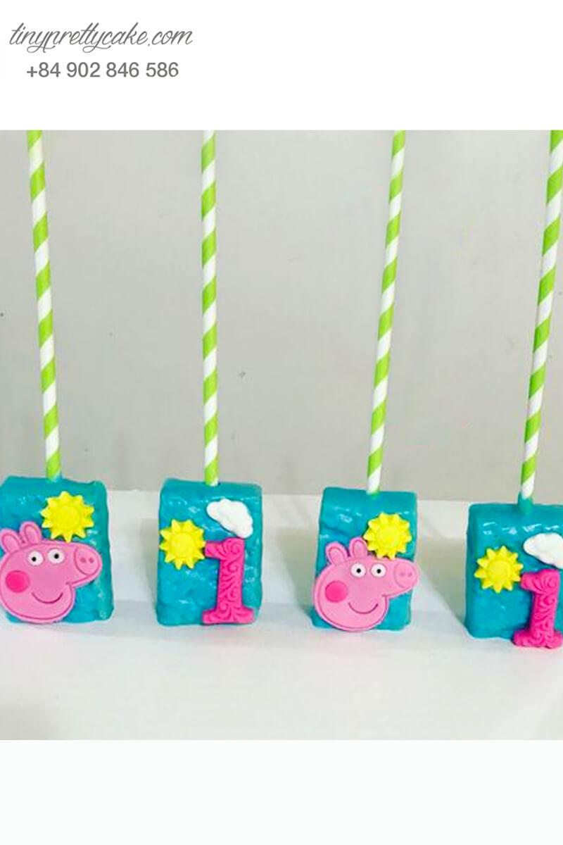 Set 5 bánh cakepop tạo hình heo Peppa và chữ số dễ thương để trang trí tiệc sinh nhật, đầy tháng cho các bé