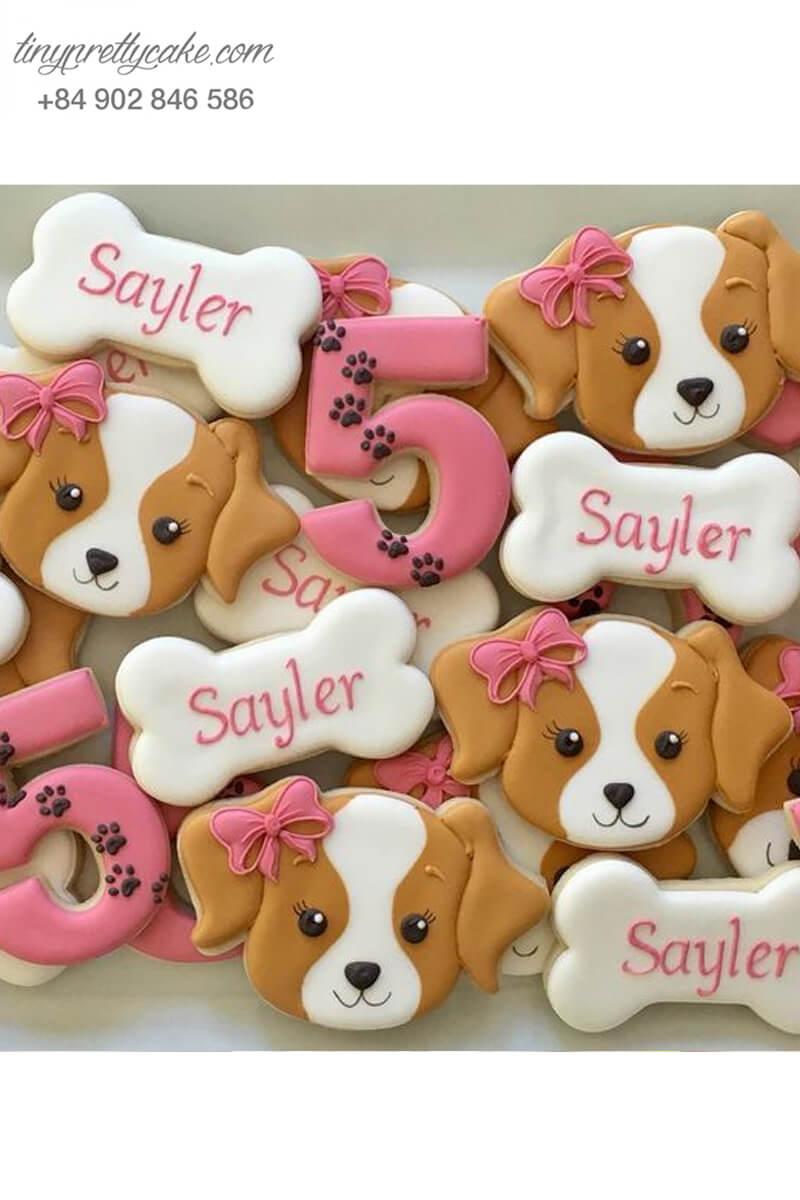 Set 10 Cookie chú chó Beagle nơ hồng xinh xắn - mừng sinh nhật các bé gái