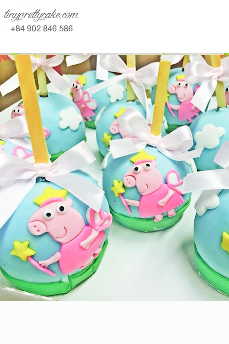 Bánh cakepop tạo hình tiên heo Peppa dễ thương để trang trí tiệc sinh nhật, đầy tháng cho các bé