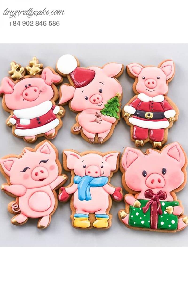 Set 6 cookie heo con Noel - mừng sinh nhật, đầy tháng hoặc quà tặng dịp lễ Noel cho các bé