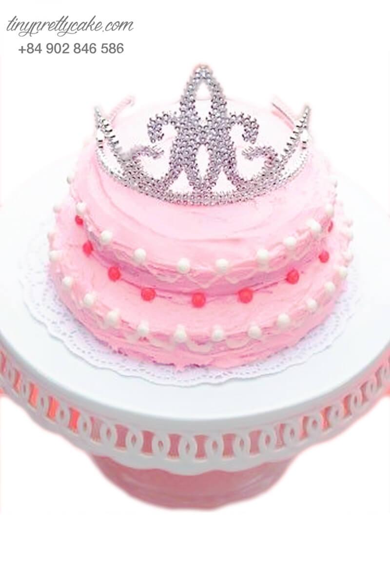 Bánh sinh nhật tạo hình vương miện công chúa thơ mộng cho bé gái (BC3682)