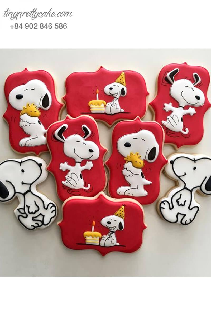 Set 8 Cookie chú chó Snoopy vui vẻ - mừng sinh nhật, thôi nôi các bé