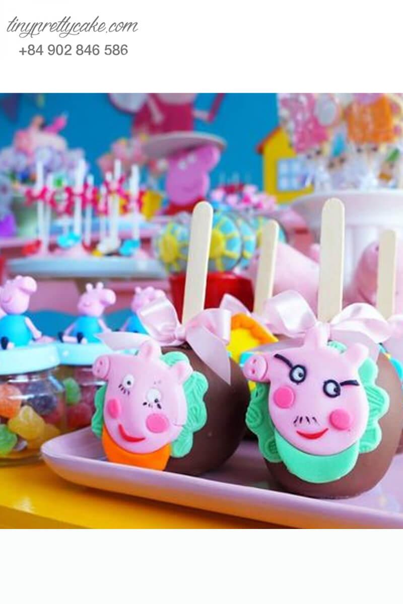 Set 6 bánh cakepop tạo hình chú chó Peppa tròn xoe cực ngố để trang trí tiệc sinh nhật, đầy tháng cho các bé