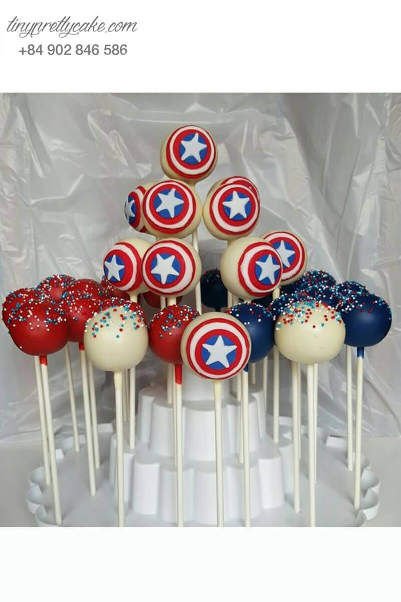 Set 22 bánh cakepop tạo hình cái khiên của Captain America cực chất dành cho các bé trai ngày sinh nhật