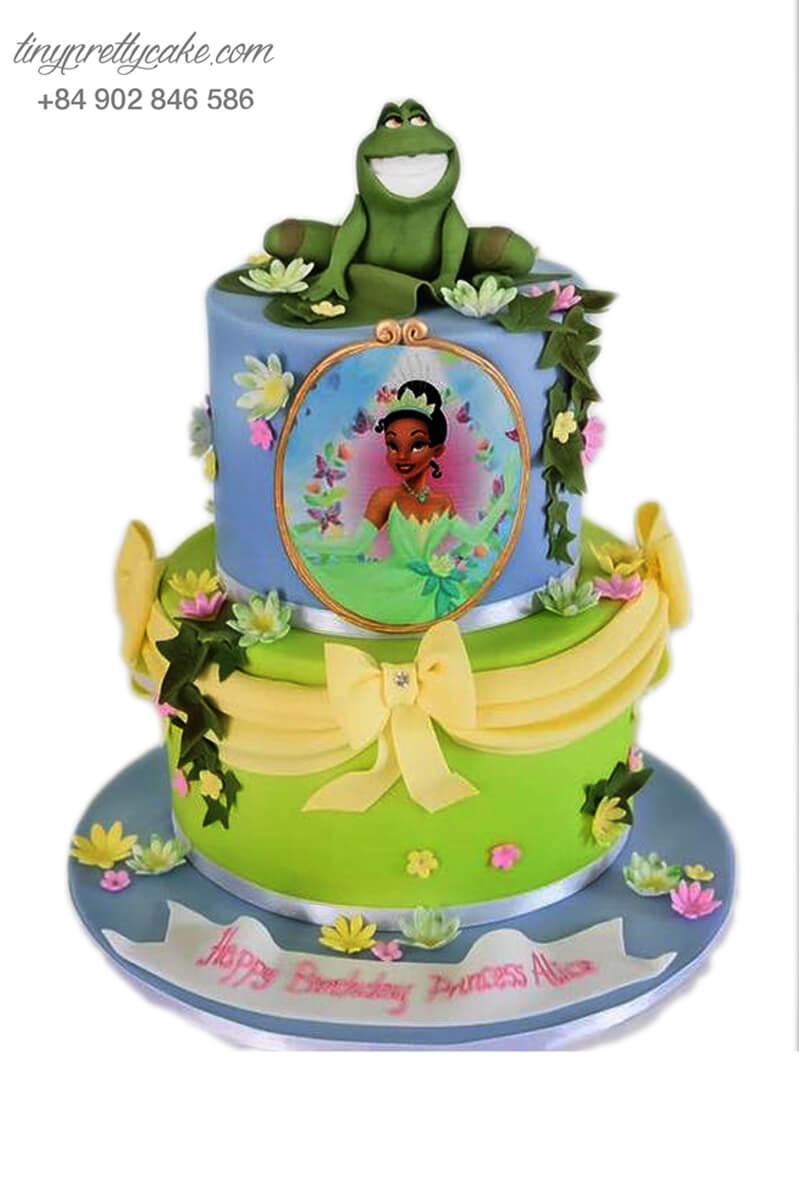 bánh sinh nhật 2 tầng công chúa và hoàng tử Ếch