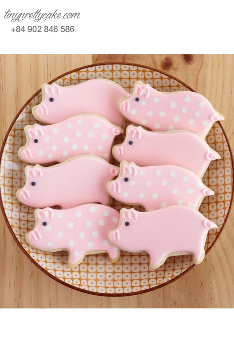 Cookie những bé heo điệu đà chấm bi đáng yêu - mừng sinh nhật đầy tháng cho các bé