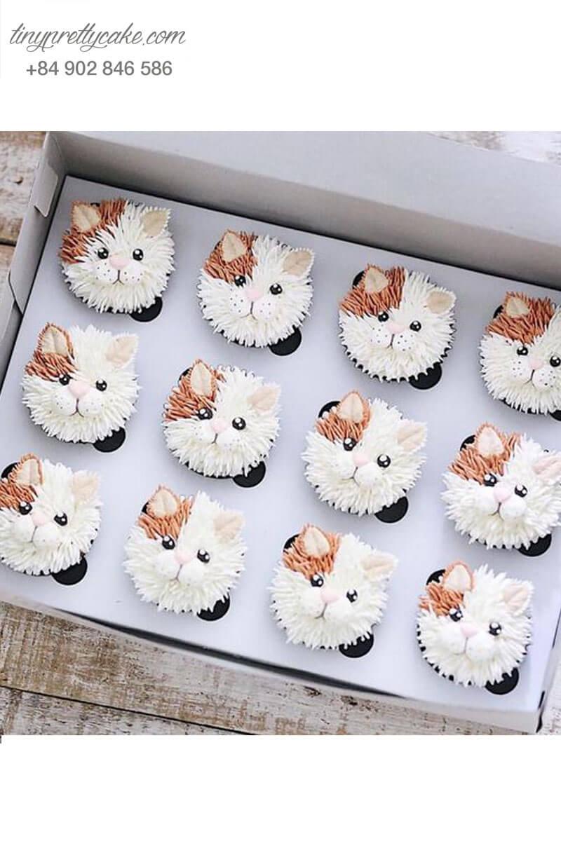 Bánh cupcake hình chú chó con đáng yêu dành tặng sinh nhật các bé