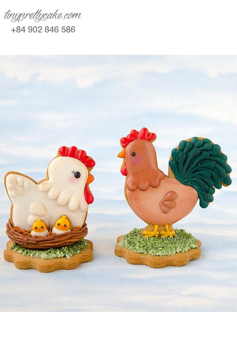Set 2 Cookie gia đình của chú gà đáng yêu – mừng sinh nhật và đầy tháng bé trai, bé gái
