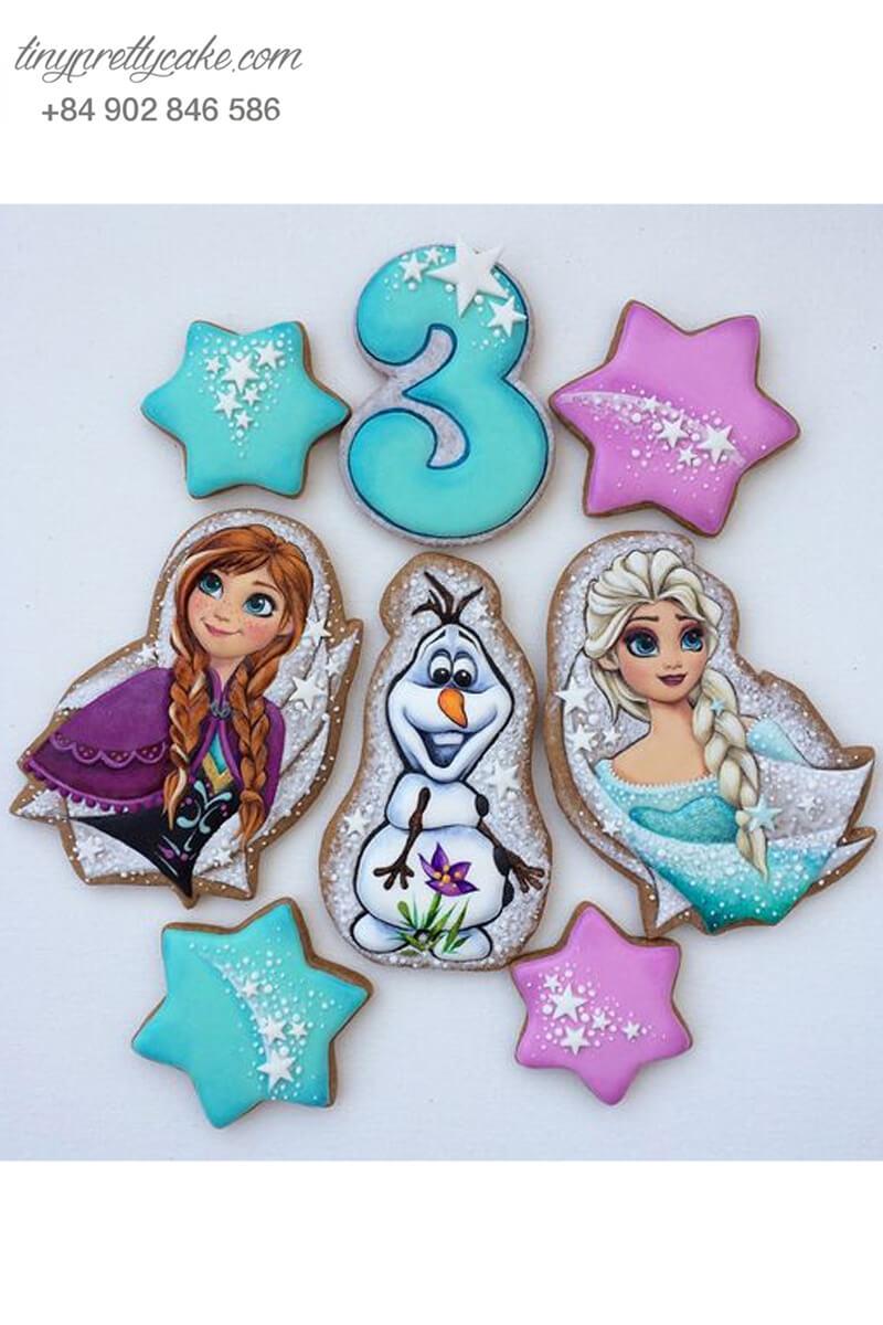 Set 8 Cookie hình Elsa & Anna ngôi sao - mừng sinh nhật bé gái
